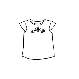 꽃 장식 손으로 그린 개요 낙서 아이콘이 있는 아기 티셔츠. 흰색 배경에 고립 된 인쇄, 웹, 모바일 및 infographics에 대 한 아기 패션 및 의류 개념 벡터 스케치 그림.