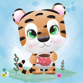 Малыш тигр - милый персонаж, нарисованный акварелью.