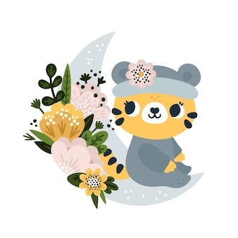 Baby tiger with blooming flowers sitting on the moon in cartoon style little roar print for kids Premium Vector