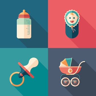 Baby time set of isometric square icons with long shadows.