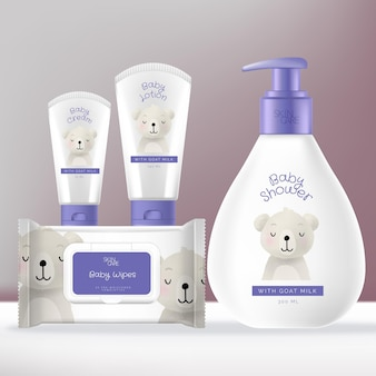 Baby toiletries or skincare packaging bundle with shampoo or baby wash pump bottle, face and hand cream tube and baby wipes foil sachet pack.