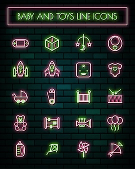 Baby tools thin neon glowing line icons set.