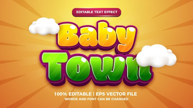 Baby town cartoon comic editable text effect style template