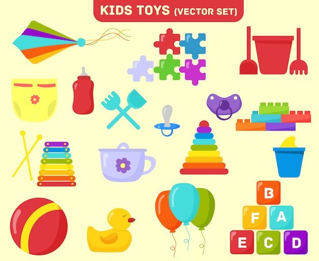 赤ちゃんのおもちゃセット。幼稚園、幼稚なおもちゃ、ガラガラと木琴、ジグソーパズルとボール。バケットとピラミッド、キューブ、カイト、パズル、ボトル、乳首、風船。フラットクリップアート漫画イラスト。