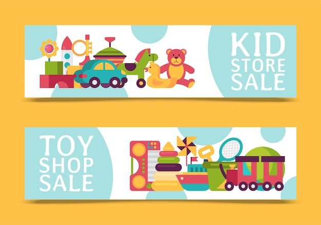 Baby toy shop banner in flat cartoon style. kids game market includes teddy bear, pyramid, doll