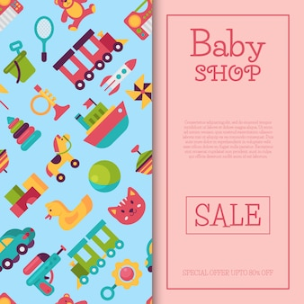 Baby toy shop banner in flat cartoon style. kids game market includes teddy bear, pyramid, doll.