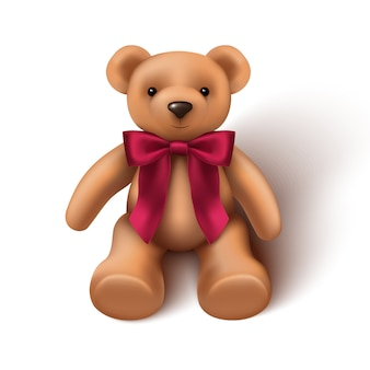 Baby toy teddy bear with red velvet bow