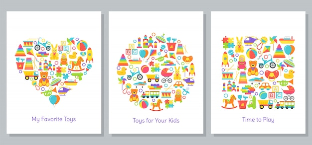 Baby toys card. vector illustration in flat design.