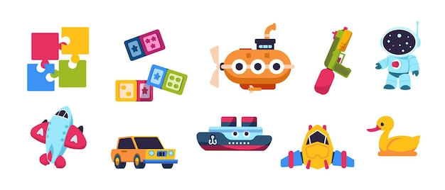 Baby toys. cartoon kid submarine car spaceship boat and plane transport, puzzle constructor and bath duck. vector isolated cute collection of toys for kids on white background