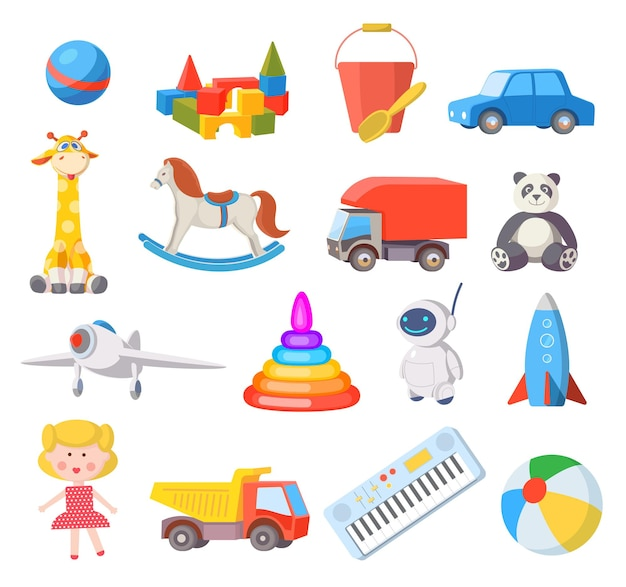 Baby toys. cartoon kids toy for boys and girls ball, car, doll, robot, rocket and airplane. fun child belongings for baby shower vector set. illustration bear and train, pyramid and robot Premium Vector