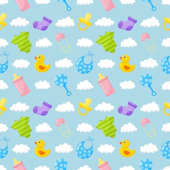 Baby toys and clothes icons seamless pattern. newborn items on blue.