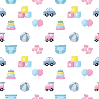 Baby toys and clothes icons seamless pattern. newborn items on white background.