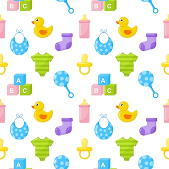 Baby toys and clothes icons
