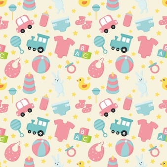 Baby toys and clothes seamless pattern. newborn illustration.