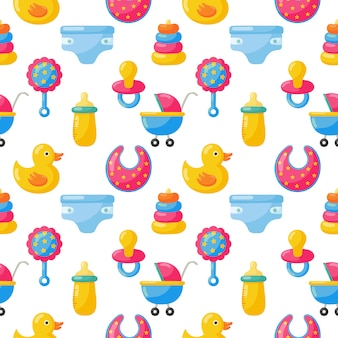Baby toys and clothes seamless pattern. newborn items