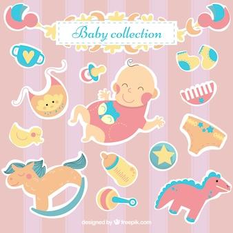 Collezione di giocattoli per bambini in stile piatto