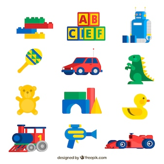 Baby toys collection in flat style