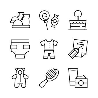 Baby toys, feeding and care icons set. line style.