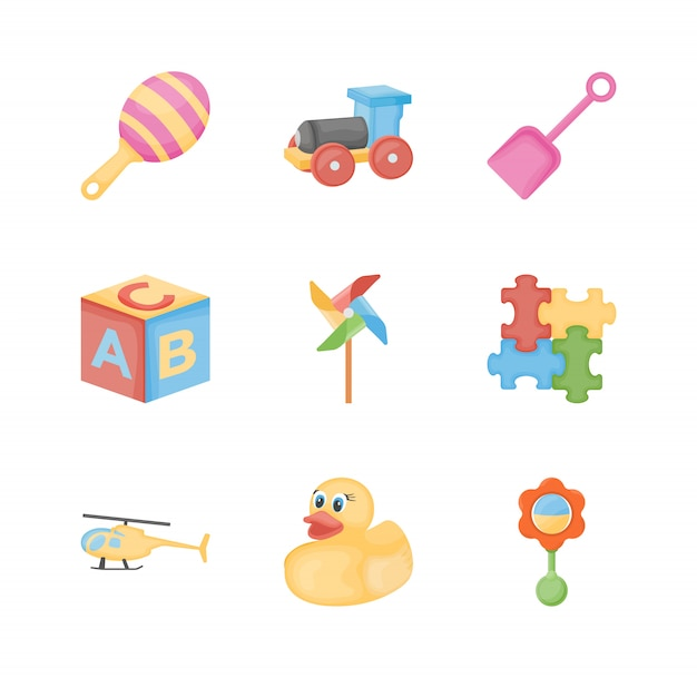 Baby toys flat icons