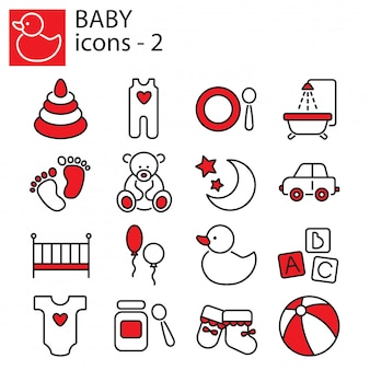 Baby toys icon set, feeding and care