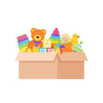 Детские игрушки в коробке. красочные иллюстрации шаржа.