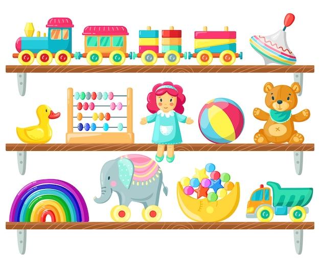 Детские игрушки на деревянной полке иллюстрации