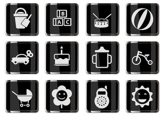 Baby toys pictograms in black chrome buttons. icon set for your design. vector icons