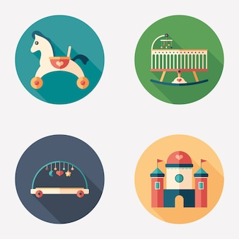 Baby toys and recreation flat round icon set.