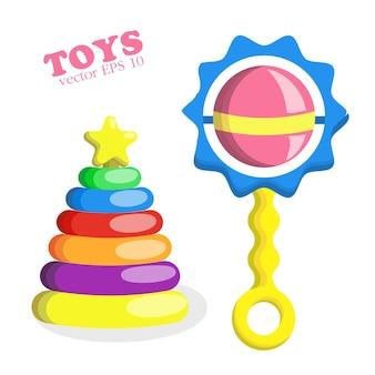 フラットスタイルの赤ちゃんのおもちゃセット上部に星と赤ちゃんのガラガラとプラスチックピラミッド