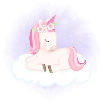 Baby unicorn спит на облаке рисованной иллюстрации