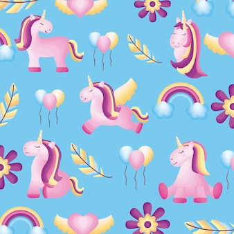 Baby unicorns seamless pattern