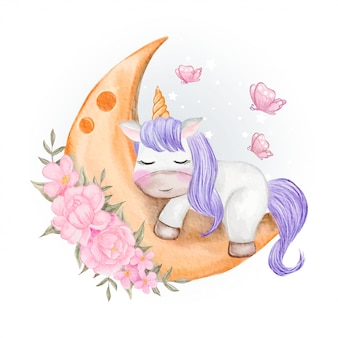 Baby unicorns sleeping on the moon with flower and butterfly