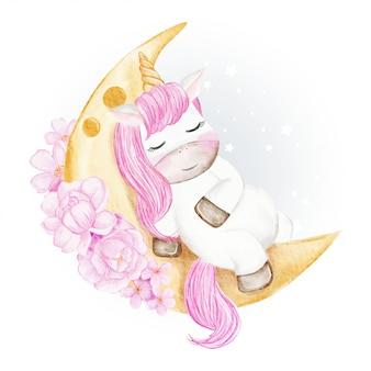 花ピンクの水彩イラストで月に眠っている赤ちゃんユニコーン