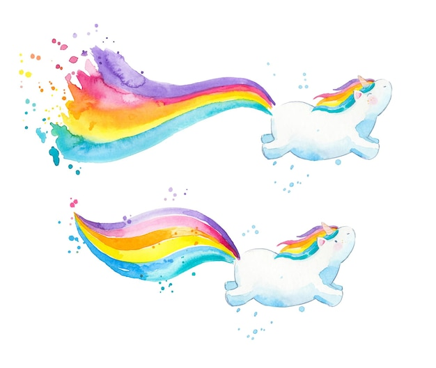 Baby unicorns with colorful rainbow tails watercolor illustration