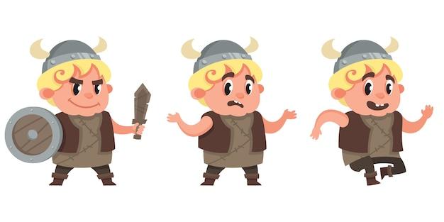 さまざまなポーズで赤ちゃんバイキング。漫画のスタイルでかわいいキャラクター。