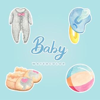 아기 수채화 스티커