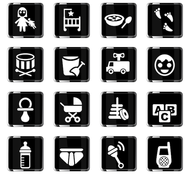 Baby web icons for user interface design