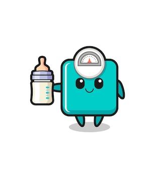 牛乳瓶、tシャツ、ステッカー、ロゴ要素のかわいいスタイルのデザインと赤ちゃんの重量スケールの漫画のキャラクター