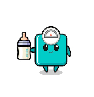 Baby weight scale cartoon character with milk bottle , cute style design for t shirt, sticker, logo element