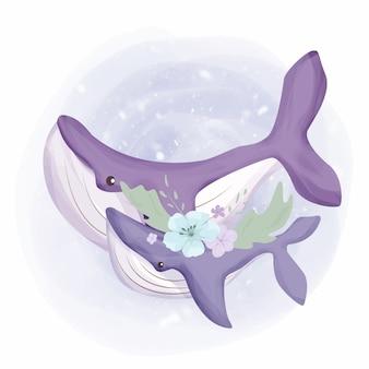 赤ちゃんクジラと母親の水彩画