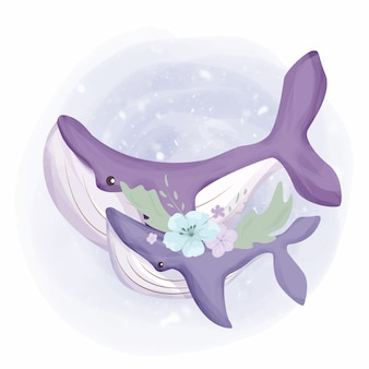Baby whale and mother watercolor