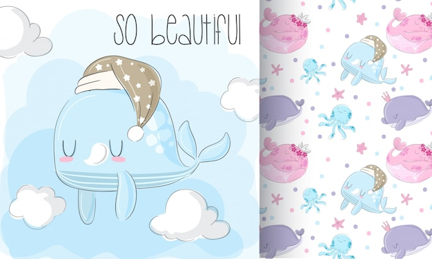 Baby whale pattern set  hand draw illustration
