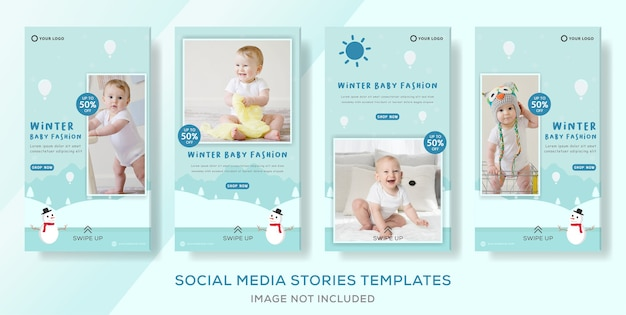 赤ちゃんの冬のセールソーシャルメディアストーリーテンプレート