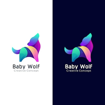 Baby wolf colorful gradient logo template