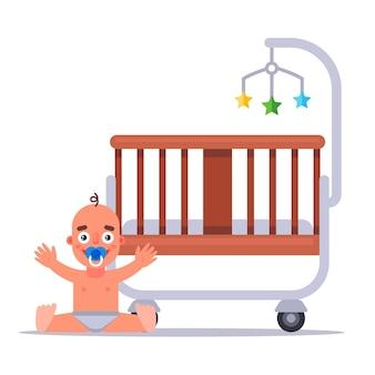 生まれたばかりの幼児のための赤ん坊の木製のまぐさ桶。フラットベクトルイラスト。