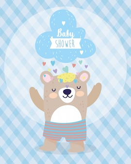 Baby душ милый медведь и облако с дождем сердец