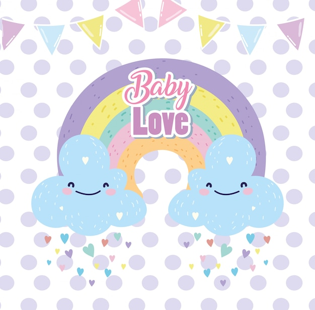Baby душ милая радуга с облаками дождь сердца любовь мультфильм открытки