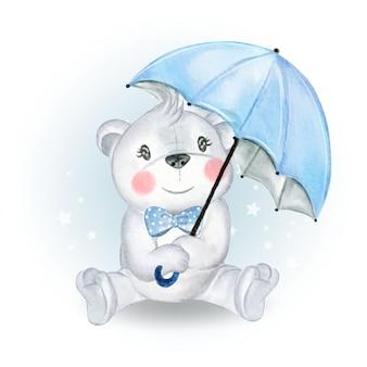Baby медведь держит зонтик
