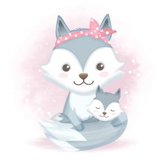 Baby лиса и мать мультфильм животных иллюстрации