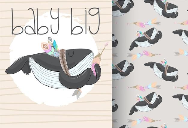 Baby кит племенной с бесшовный фон
